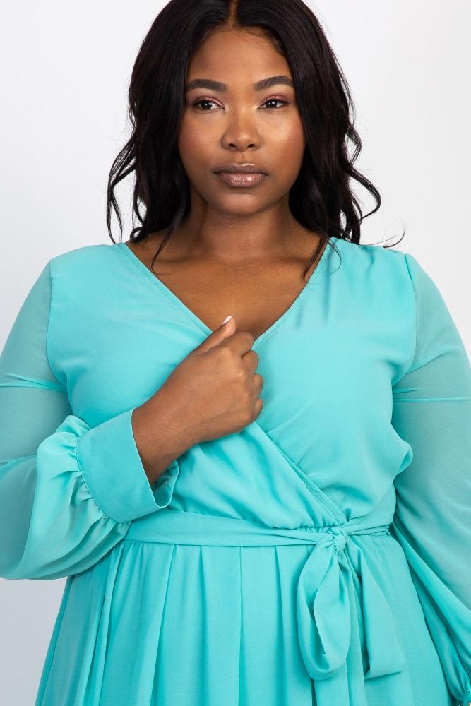 b154be0e77181 Mint Green Chiffon Long Sleeve Pleated Plus Maternity Maxi Dress