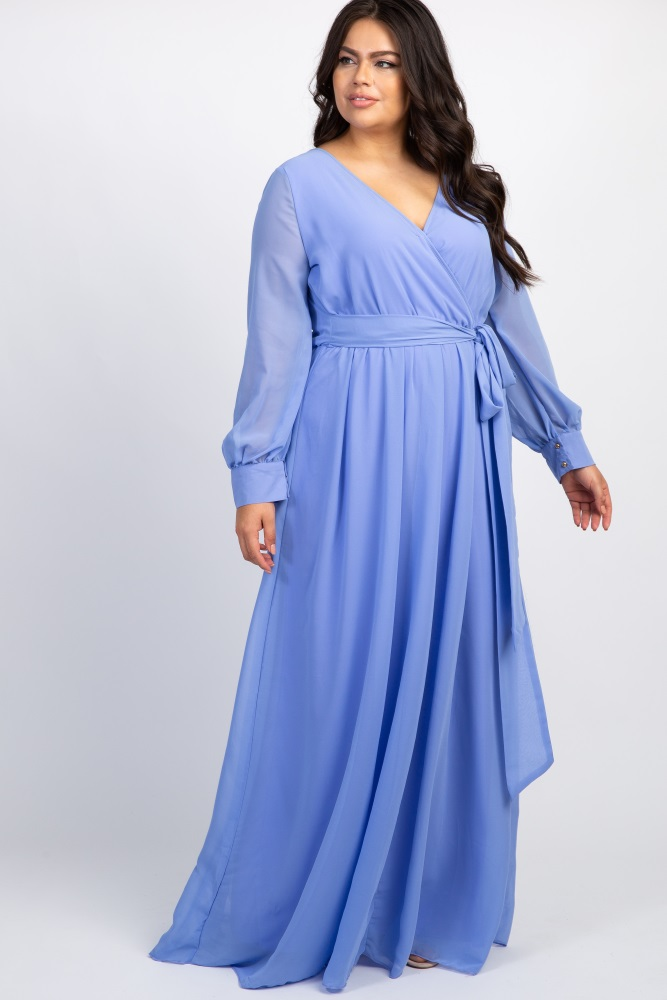 Periwinkle Chiffon Long Sleeve Plus Maternity Maxi Dress