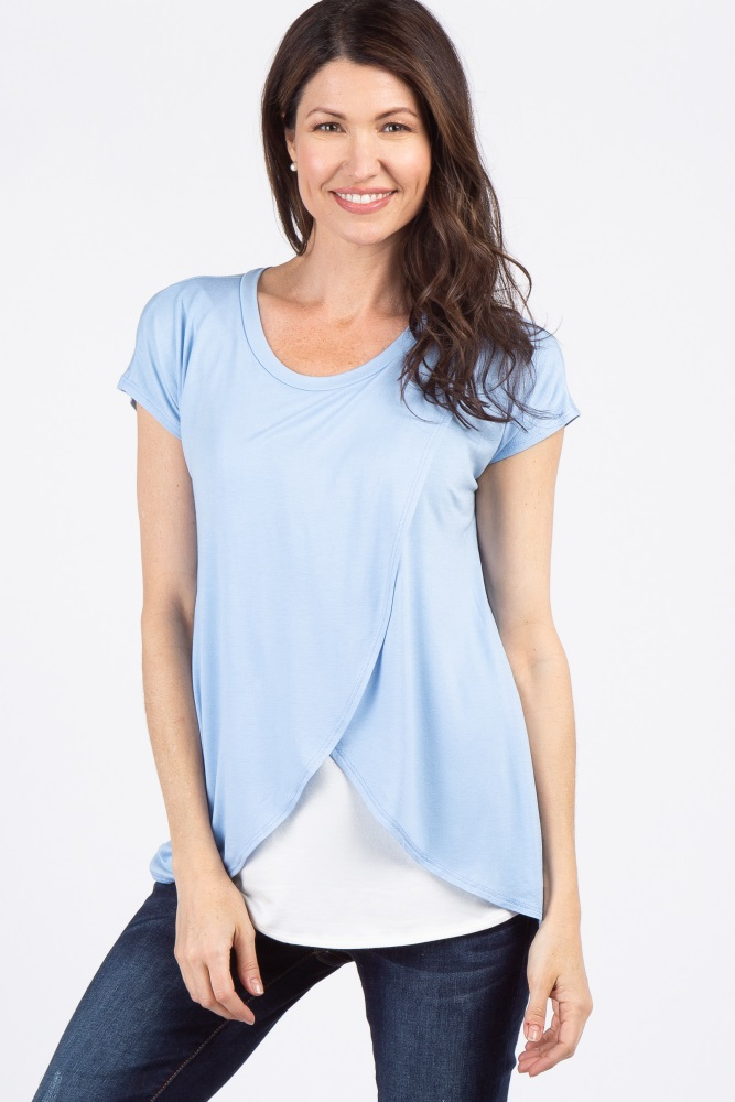 1cf1e63b69f Light Blue Layered Wrap Front Maternity Top