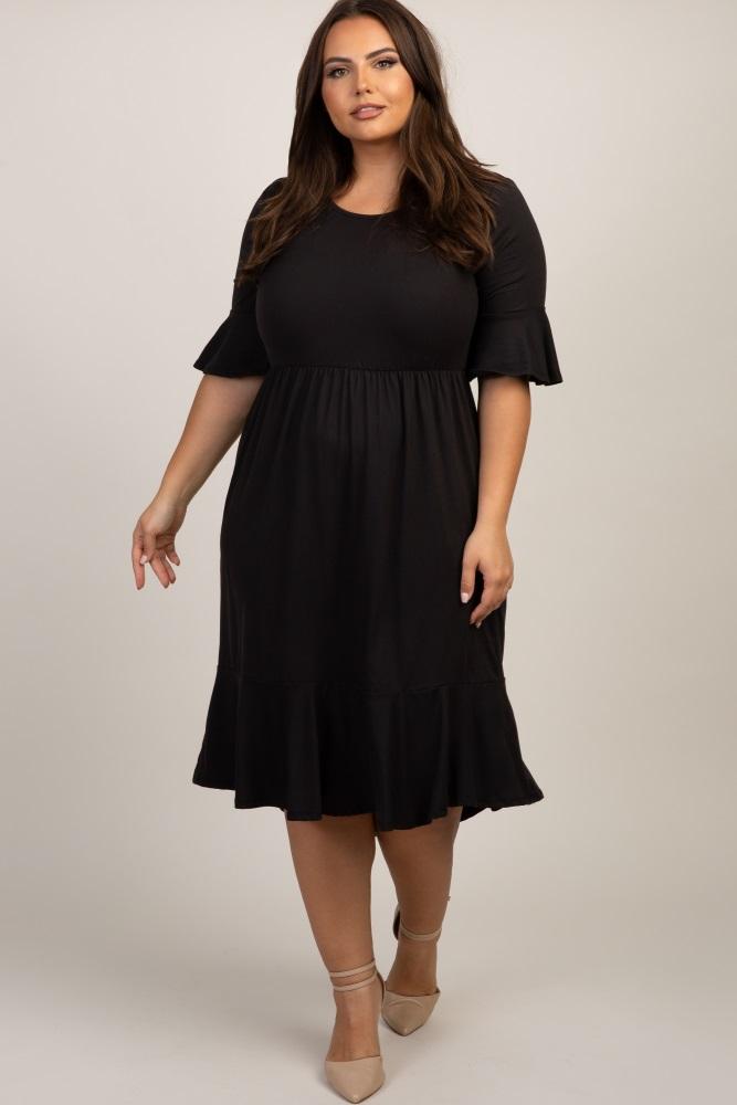 80ab46d1d4 Black Solid Ruffle Trim Plus Maternity Dress