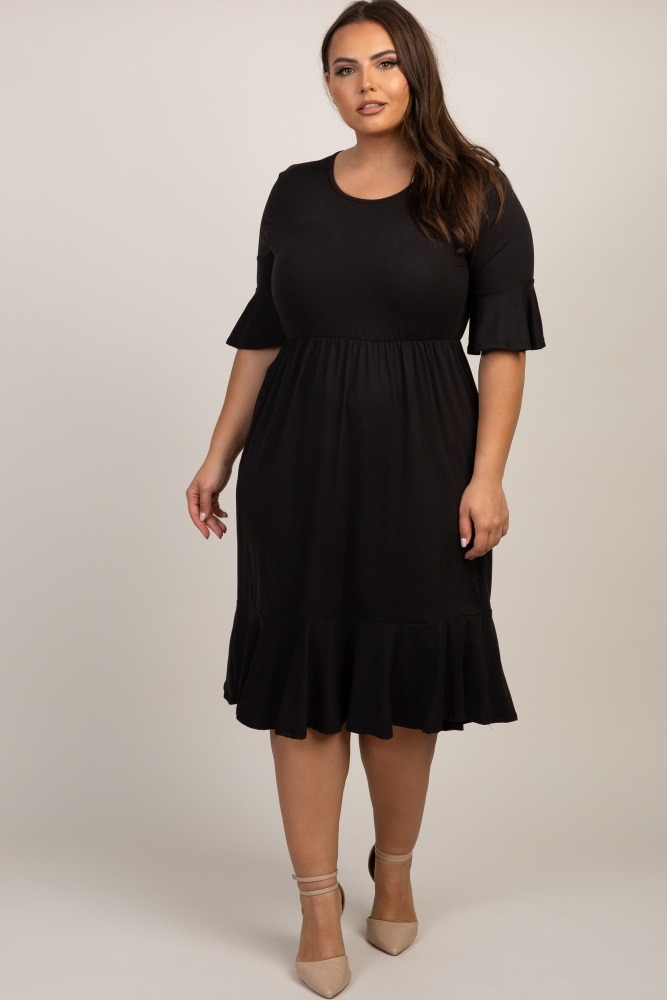 Black Solid Ruffle Trim Plus Maternity Dress
