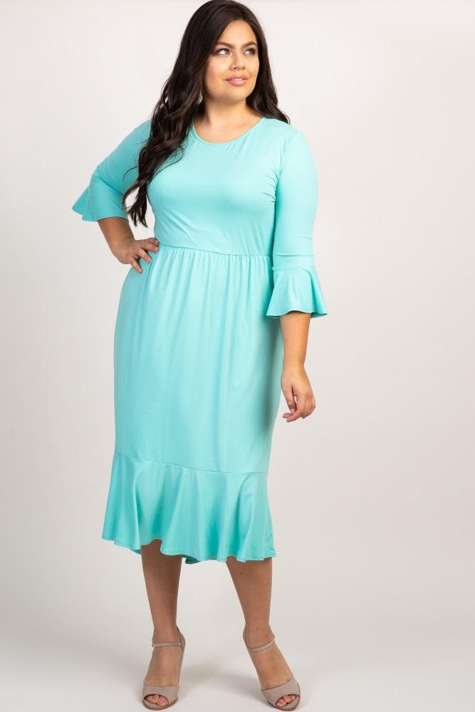 Mint Green Ruffle Trim Hi-Low Plus Dress