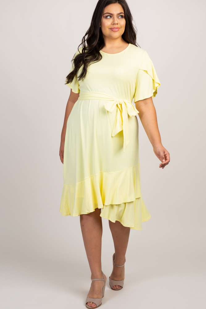 a2cbd482c68b5 Yellow Solid Ruffle Accent Wrap Skirt Plus Maternity Dress