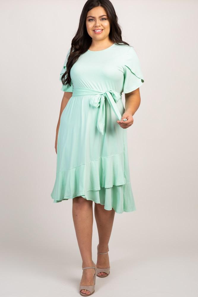 Mint Green Solid Ruffle Accent Wrap Skirt Plus Dress