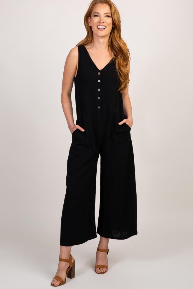 black solid v neck sleeveless jumpsuit