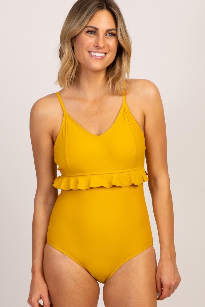 bc43b49212ac Yellow Ruffle Waist V Neck One Piece Swimsuit