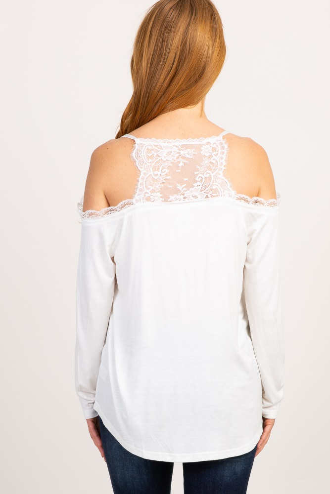 0b8a3c57b89b8a White Solid Lace Cold Shoulder Maternity Top