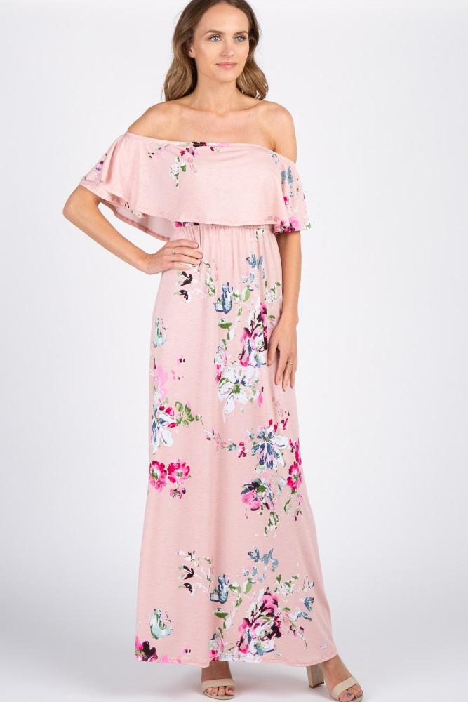b379ec1fe806 Light Pink Floral Off Shoulder Maternity Maxi Dress