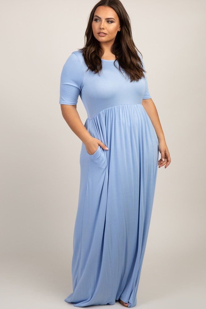 Light Blue Short Sleeve Pleated Plus Maxi Dress