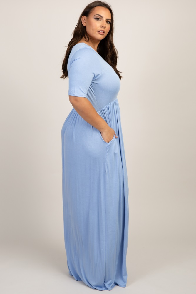 b30f0231bfe Light Blue Short Sleeve Pleated Maternity Plus Maxi Dress