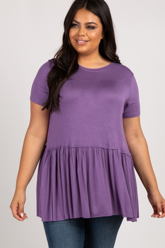 4130af7b5ce Lavender Peplum Short Sleeve Women s Plus Top