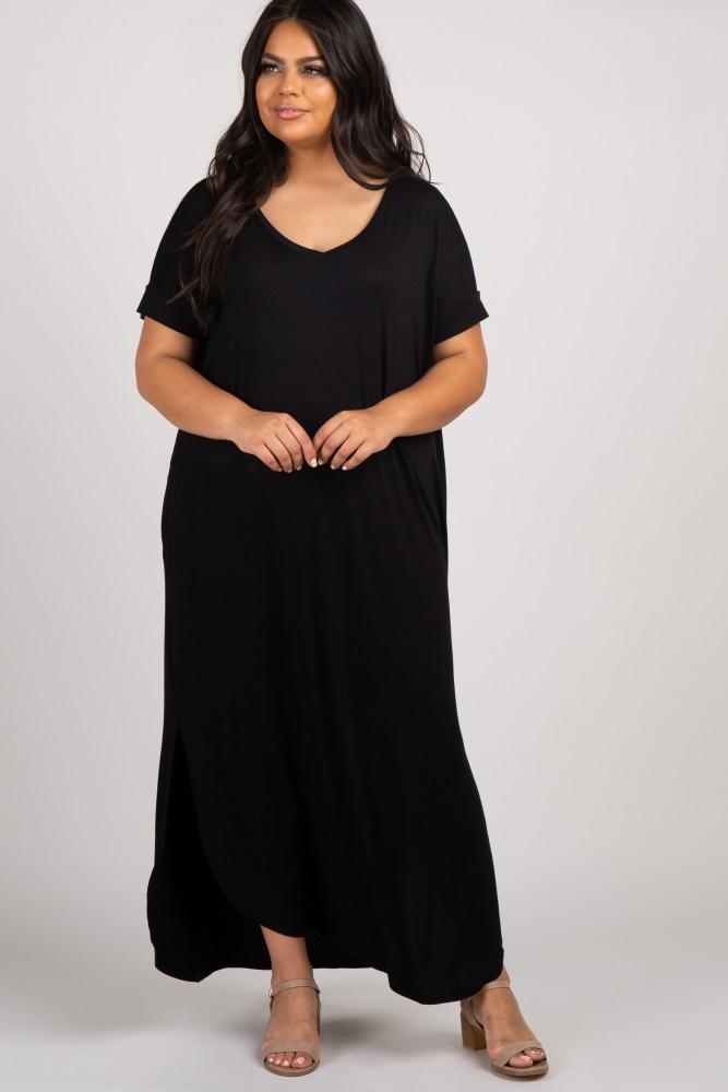 Black Short Sleeve Round Hem Plus Maxi Dress