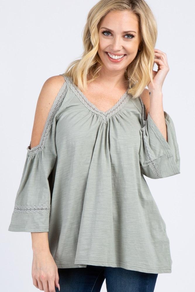light olive solid crochet cold shoulder top