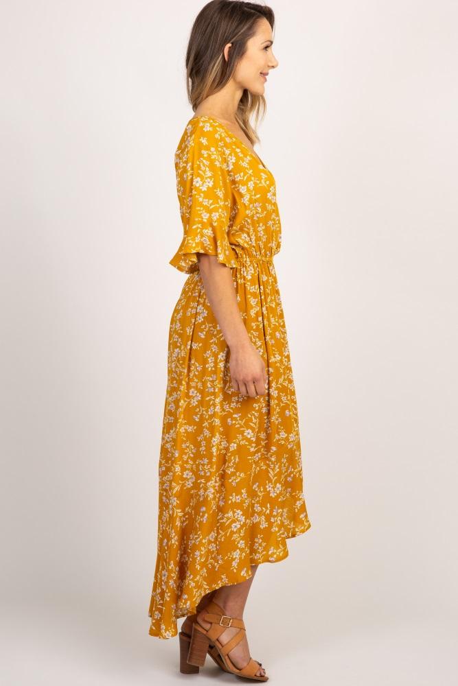 75796239079dd Mustard Floral Hi Low Hem Wrap Maxi Dress