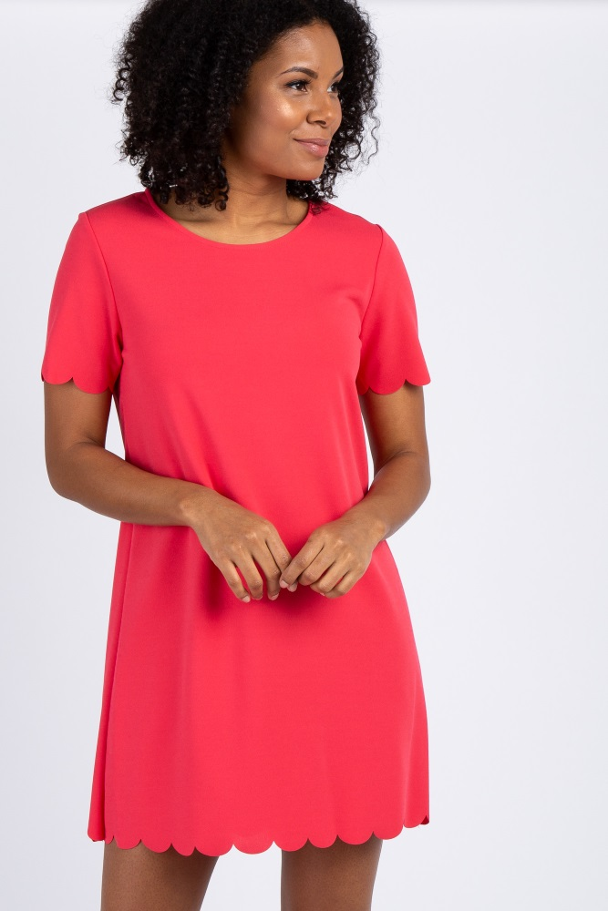 6342f4a253 Coral Short Sleeve Scalloped Trim Maternity Dress