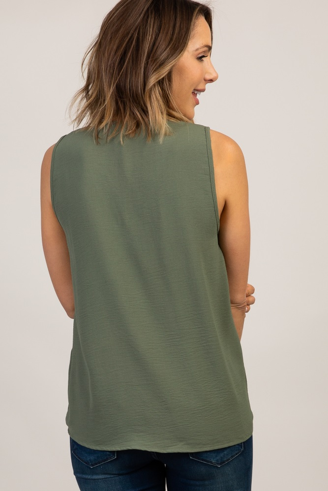 12ba6adb15860d Olive Solid V neckline Sleeveless Top