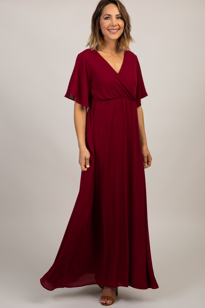 a6e2c0b8f702b Burgundy Chiffon Bell Sleeve Maternity Maxi Dress