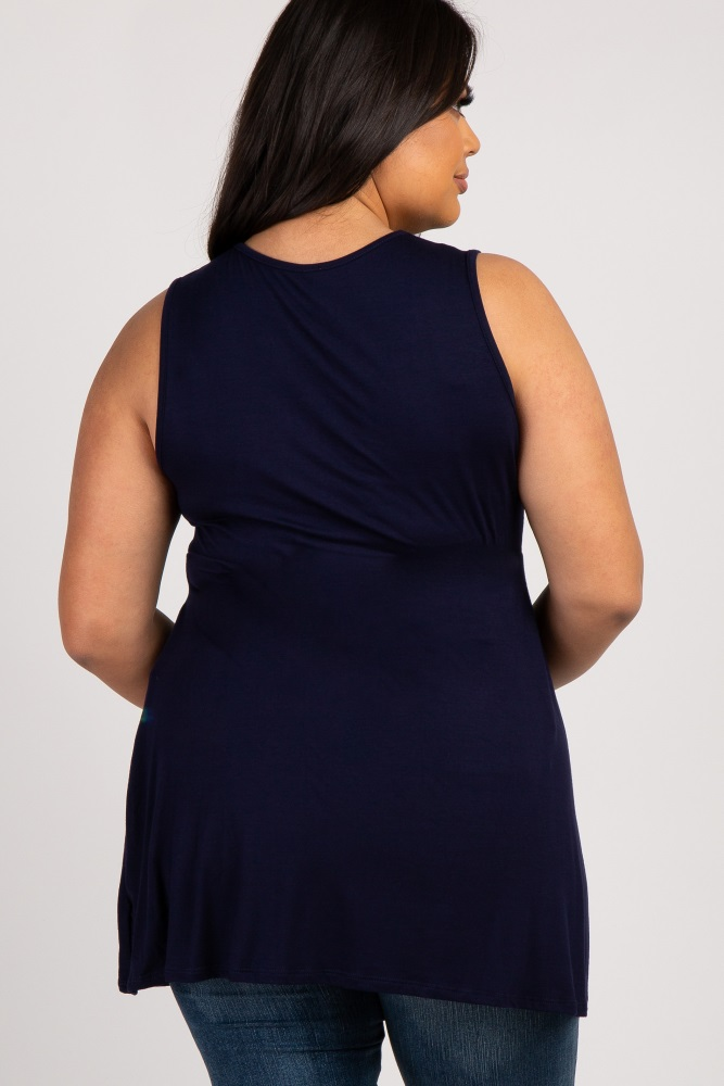 37aecf71a049f Navy Sleeveless Draped Front Plus Maternity/Nursing Top