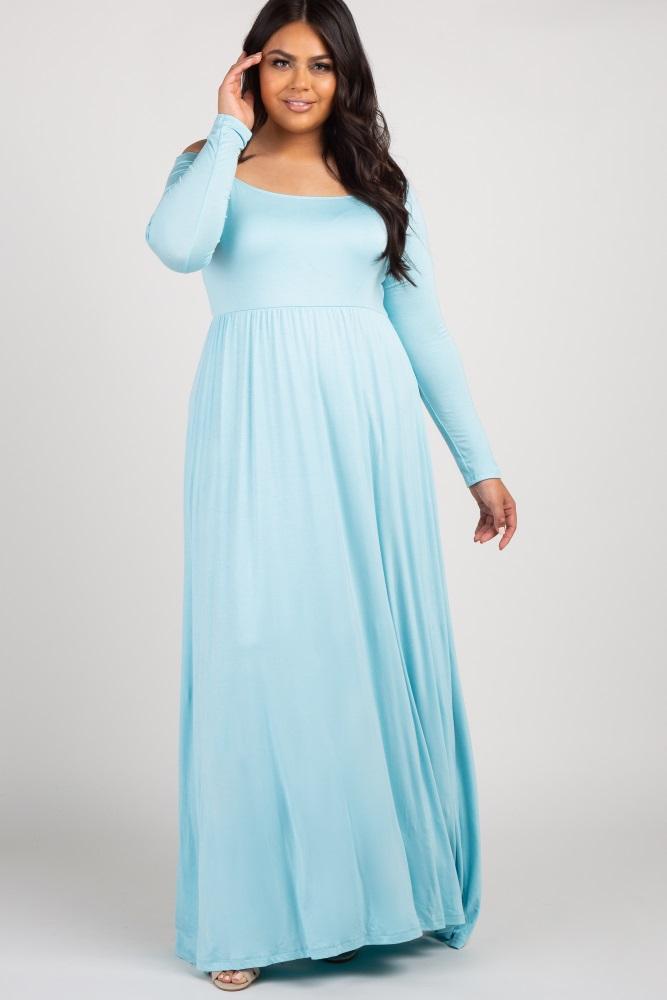 c990d157c69 Light Blue Solid Off Shoulder Maternity Maxi Dress