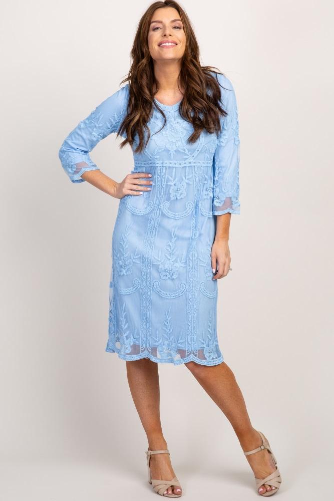 fbb01f3afdb Light Blue 3 4 Sleeve Lace Midi Dress