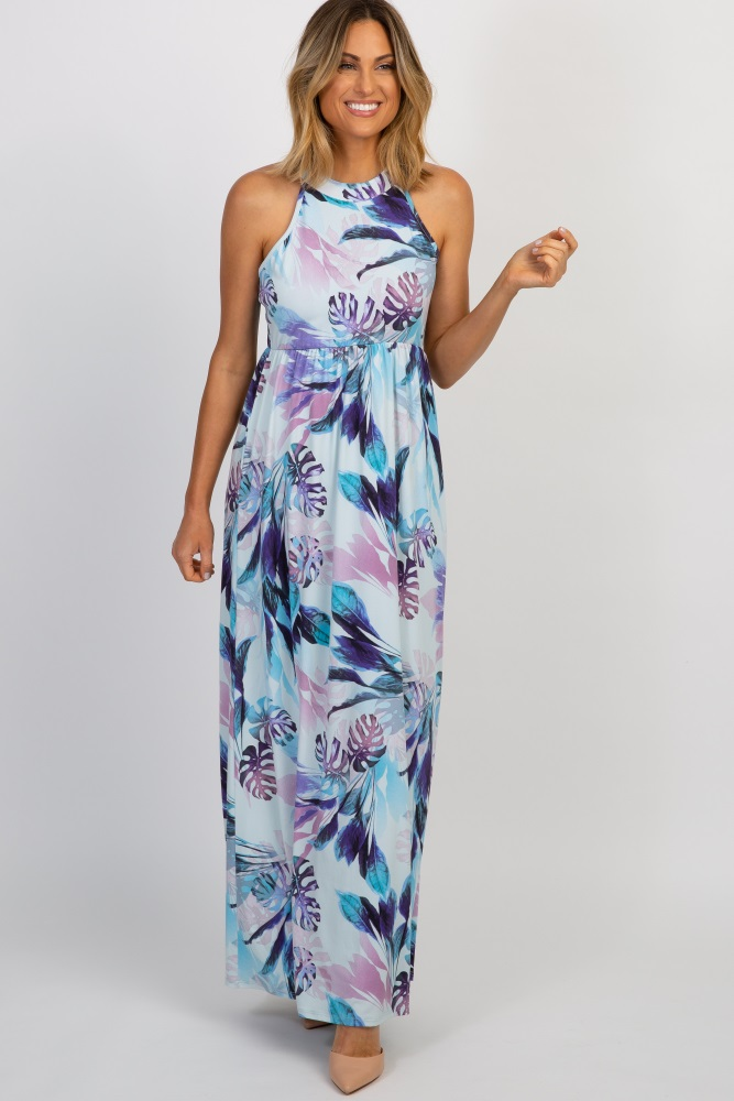 73e25fc90d0 Light Blue Tropical Floral Halter Neck Maternity Maxi Dress
