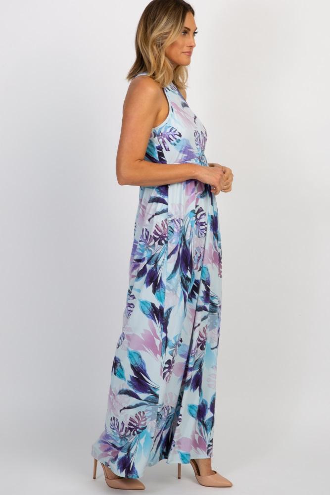 4900b6f309c Light Blue Tropical Floral Halter Neck Maxi Dress
