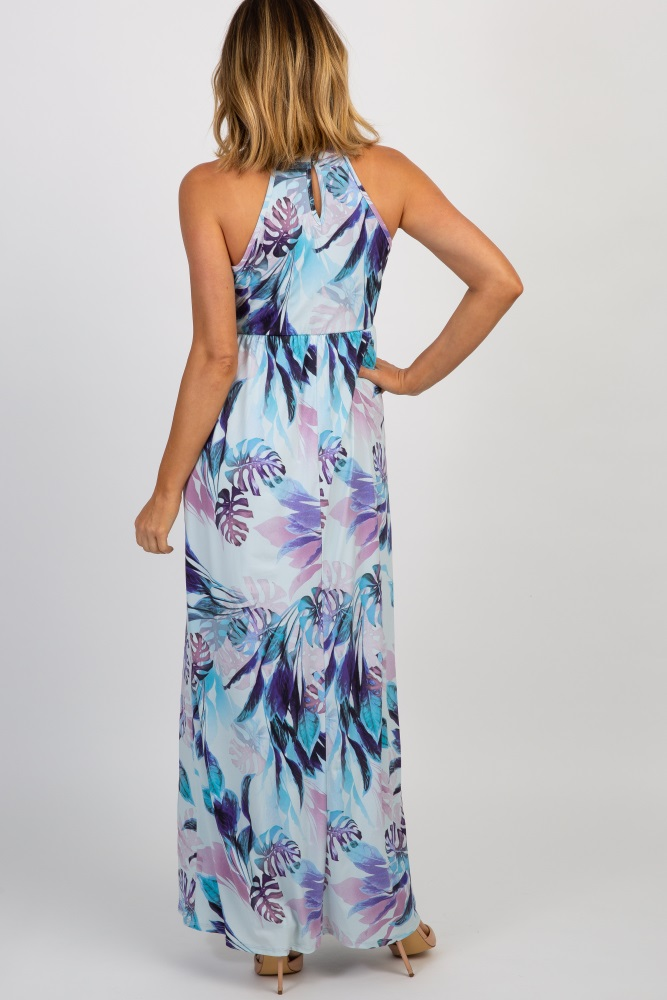 63ad864cec Light Blue Tropical Floral Halter Neck Maternity Maxi Dress