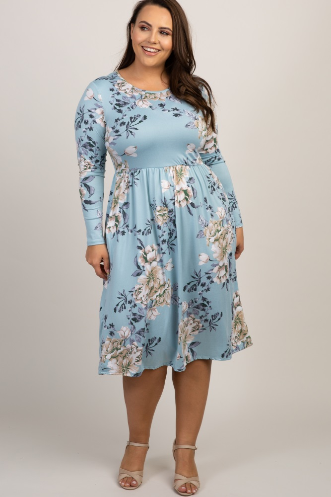 73b8d196520 Light Blue Floral Pleated Plus Midi Dress