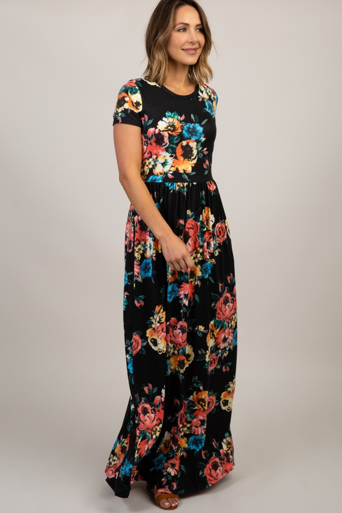black floral short sleeve maxi dress