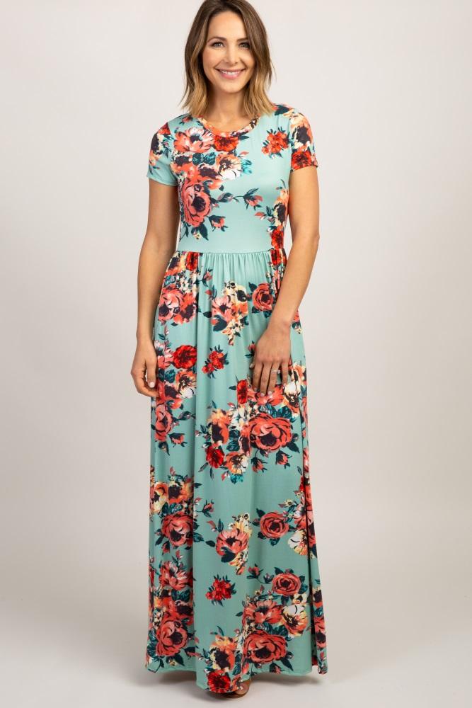 mint floral short sleeve maxi dress