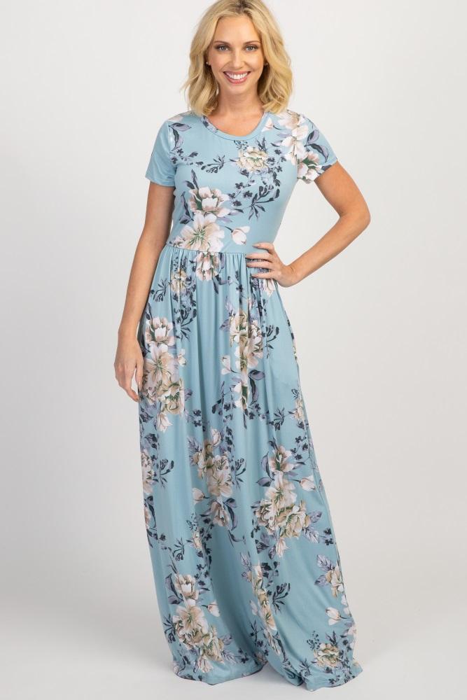 8930a4fbe8728 Light Blue Floral Short Sleeve Maternity Maxi Dress