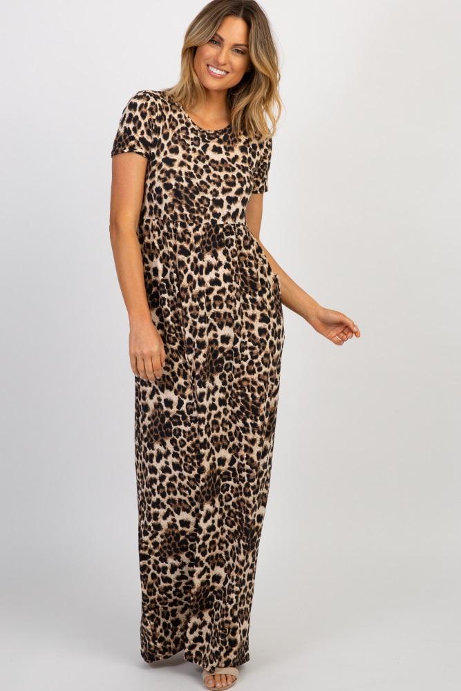 brown leopard print short sleeve maxi dress