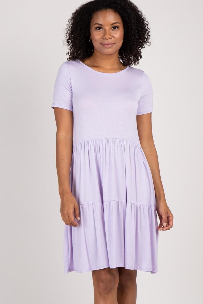 lavender solid crisscross back babydoll dress