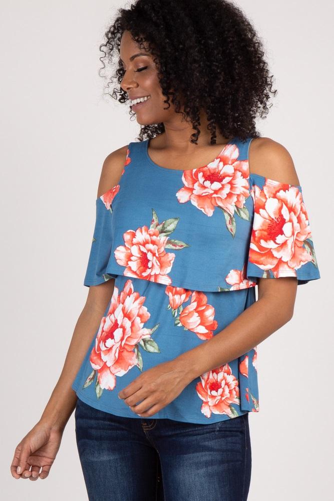 c06fc1afdc6cc Blue Floral Cold Shoulder Layered Maternity/ Nursing Top