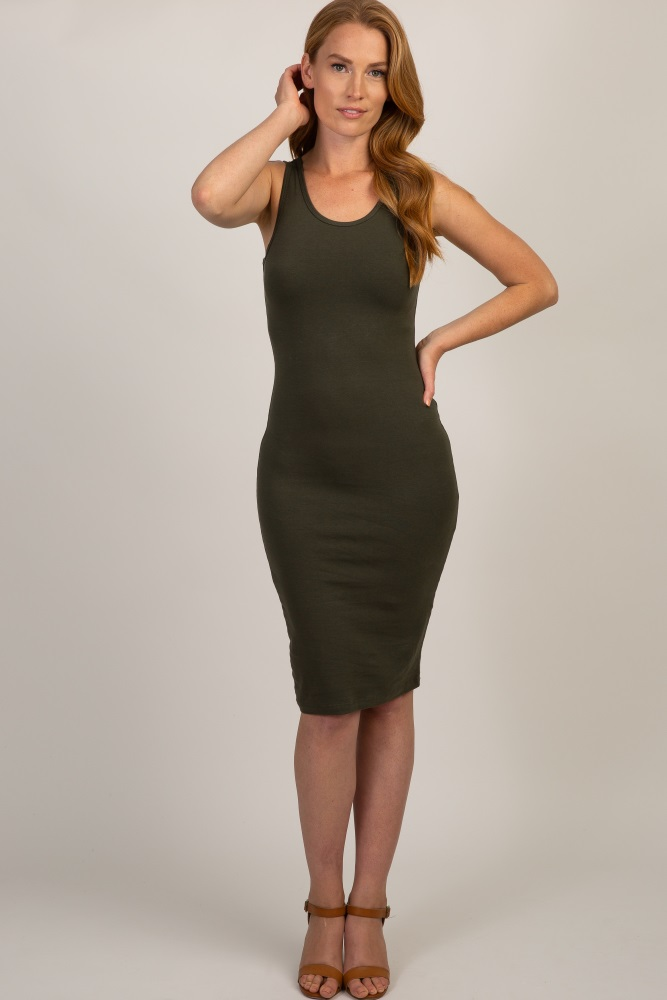 olive sleeveless fitted dress