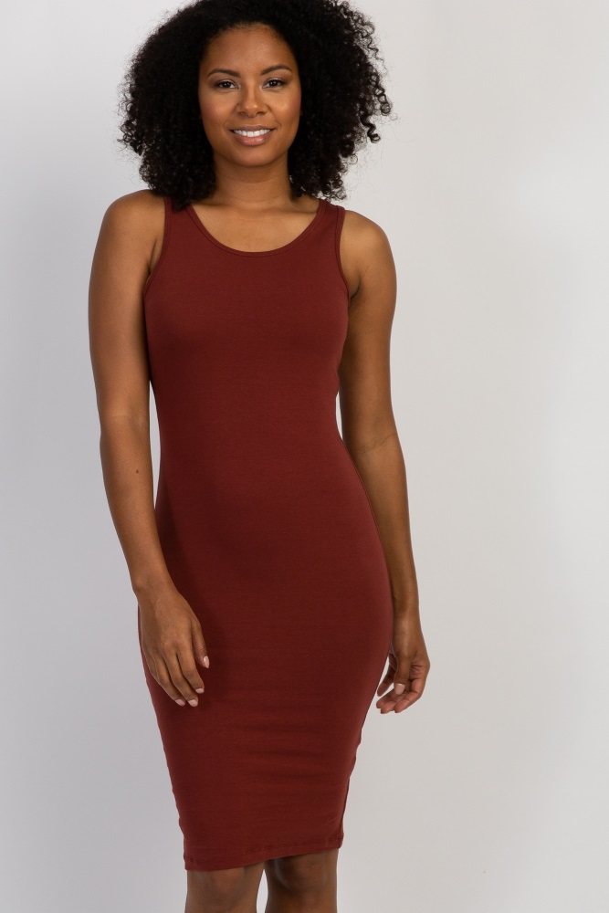 rust sleeveless fitted midi dress