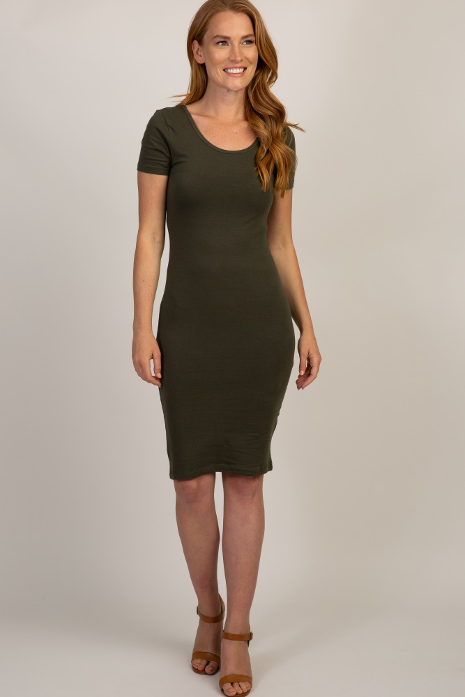 olive basic fitted dress