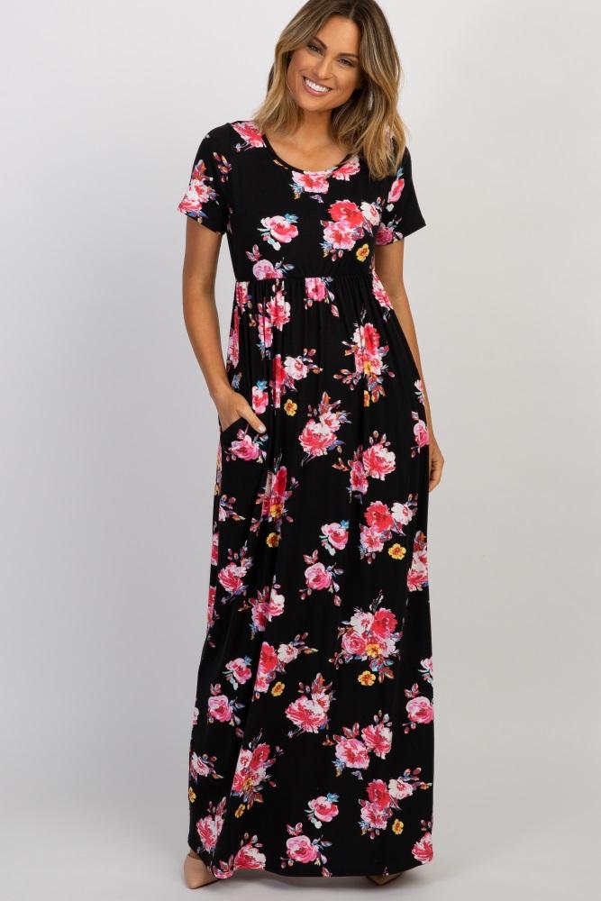 3ce8df1adf6 Black Floral Print Short Sleeve Maternity Maxi Dress