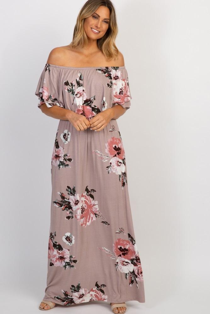 d99f141a904b Mauve Floral Off Shoulder Maternity Maxi Dress