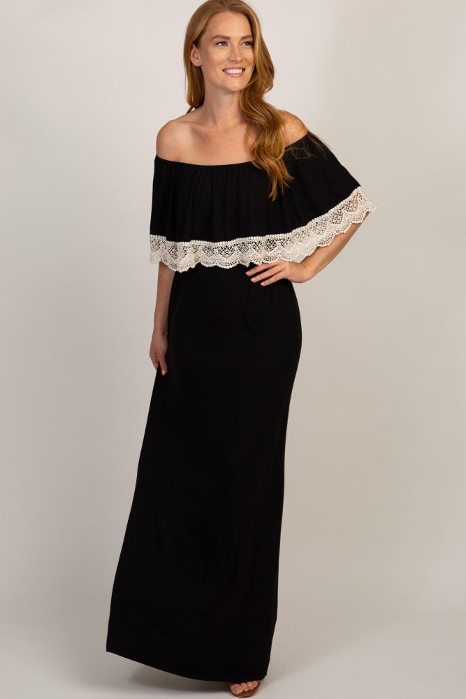 7b112c75872f Black Off Shoulder Crochet Trim Maternity Maxi Dress