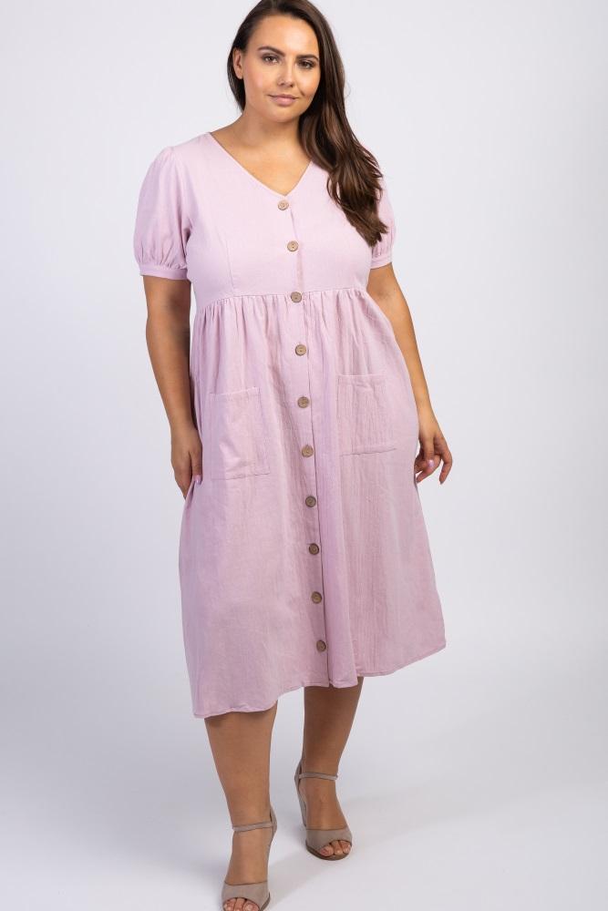 Lavender Button Front Short Sleeve Plus Midi Dress