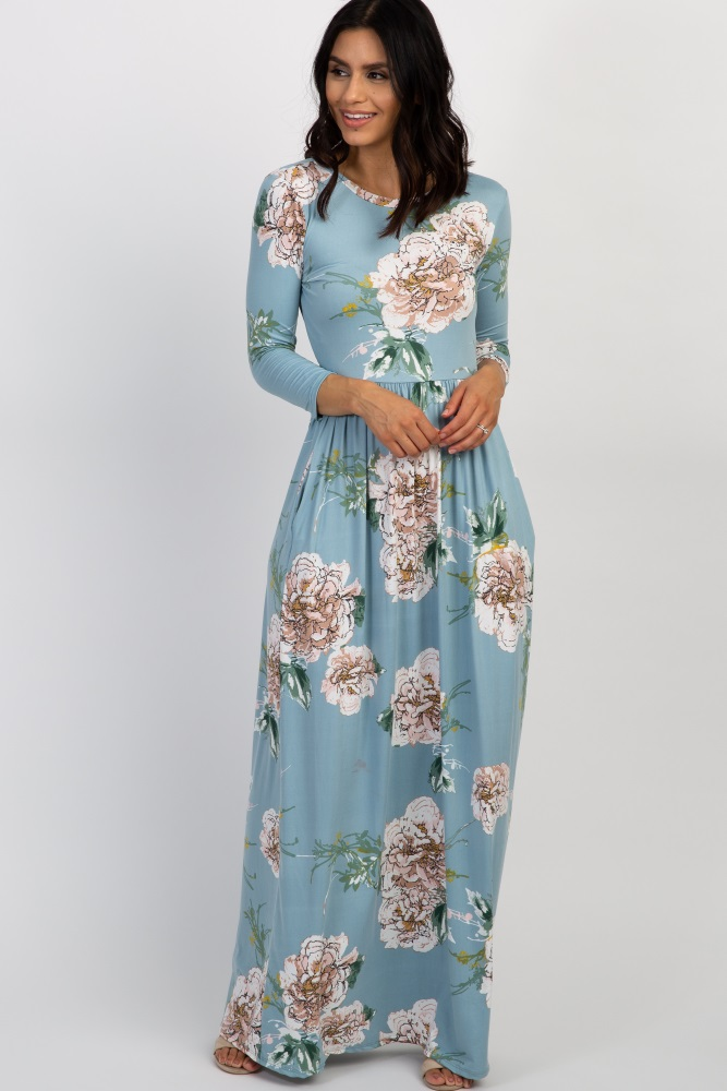 ee99774bb9f86 Light Blue Floral Print 3/4 Sleeve Maternity Maxi Dress