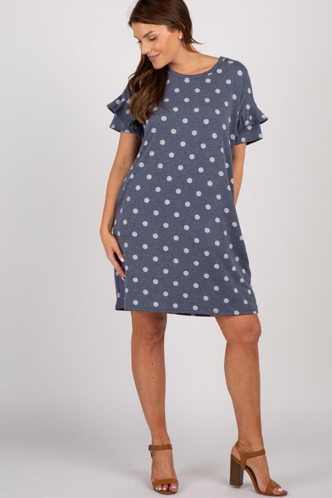 8b51abb73e751 Navy Polka Dot Ruffle Maternity Dress