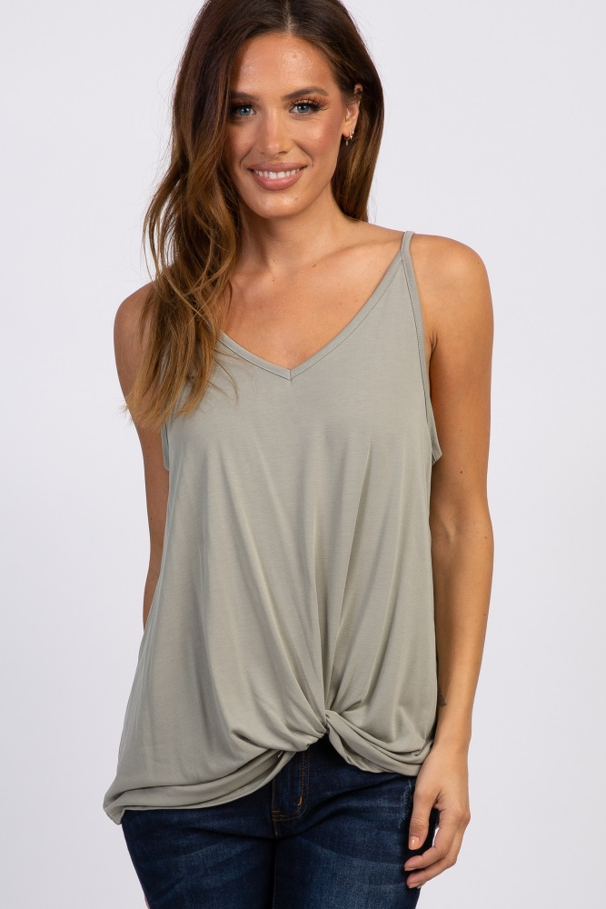 light olive solid knot front cami strap top