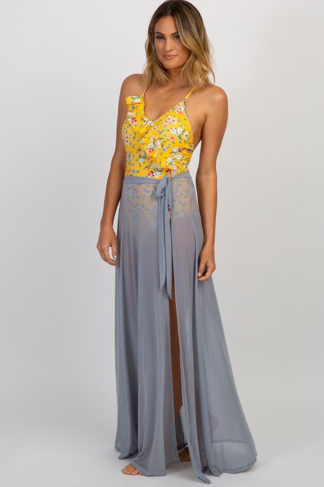 a6371ad6b3 Grey Mesh Swim Cover Up Maternity Maxi Wrap Skirt