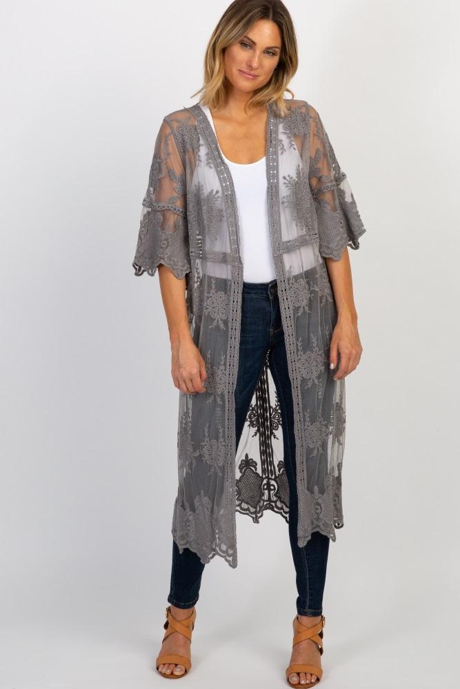 1a31d099132 Silver Lace 3 4 Sleeve Crochet Trim Kimono