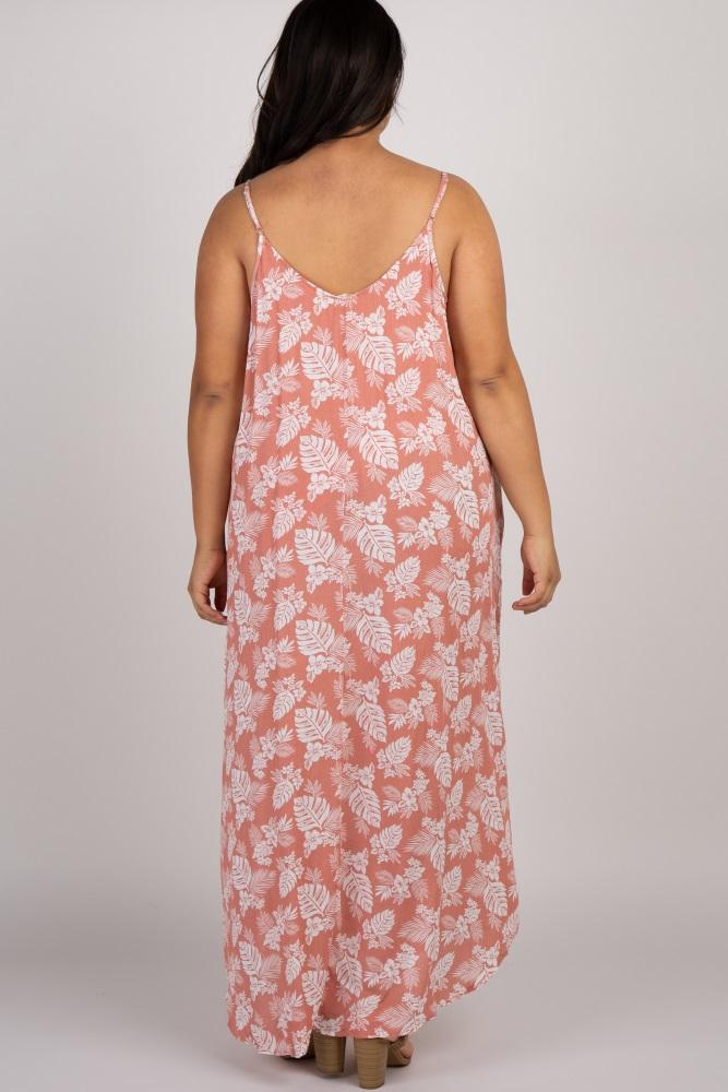 Peach Tropical Sleeveless Plus Maxi Dress