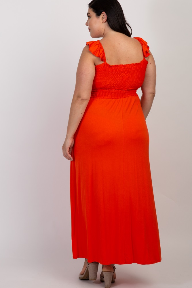 Orange Smocked Ruffle Plus Maxi Dress
