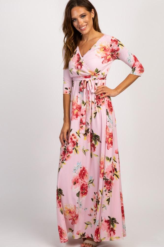 pink abstract floral sash tie nursing maxi dress