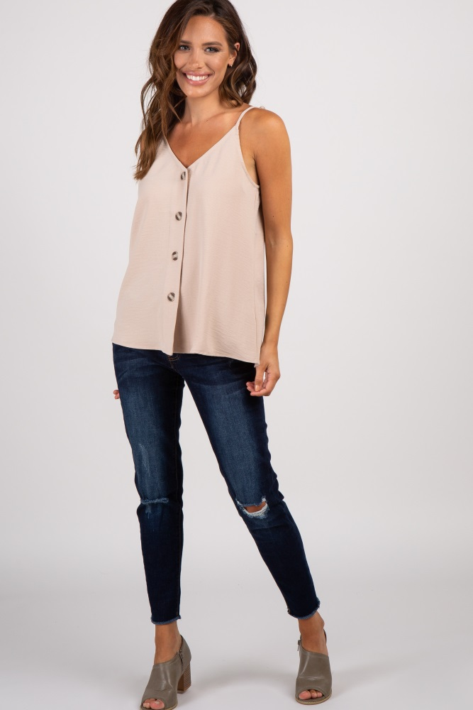 14fd7f5f5a9 Beige Solid Sleeveless Button Front Top